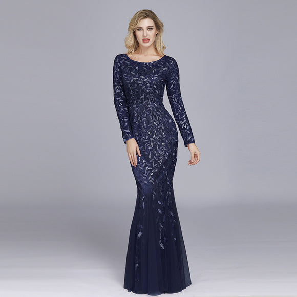 Navy blue Plus Size Sequined Lace Mermaid Evening Dress-Ratih