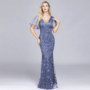 Dusty Blue Plus Size Sequined Lace Mermaid Evening Dress-Naava