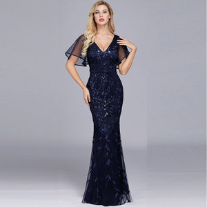 Navy blue Plus Size Ruffle Sleeves Leaves Sequined Lace Tulle Mermaid Evening Dresses Bridesmaid Dresses-Naava