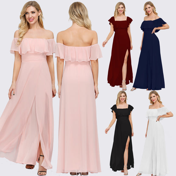 2-Ways Neckline Off Shoulder Chiffon Bridesmaid Dress in Pink-Iris