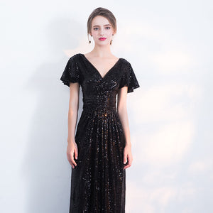 V Cutting Ruffles Sleeves Sequined Evening Dress