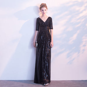 Black V Cut Half Sleeves Sequined Evening Dress