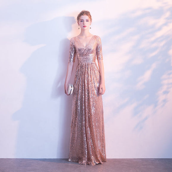 Rose Gold V Cut Half Sleeves Sequined Evening Dress
