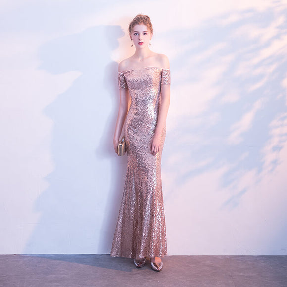 Rose Gold Off the Shoulder Slash Neck Sequined Party Evening Dress