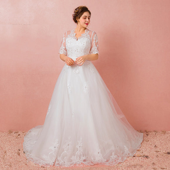 [Plus Size] Illusion Sweetheart Lace Beaded Wedding Gowns
