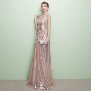 V Cutting Sleeveless Sequined Evening Dress