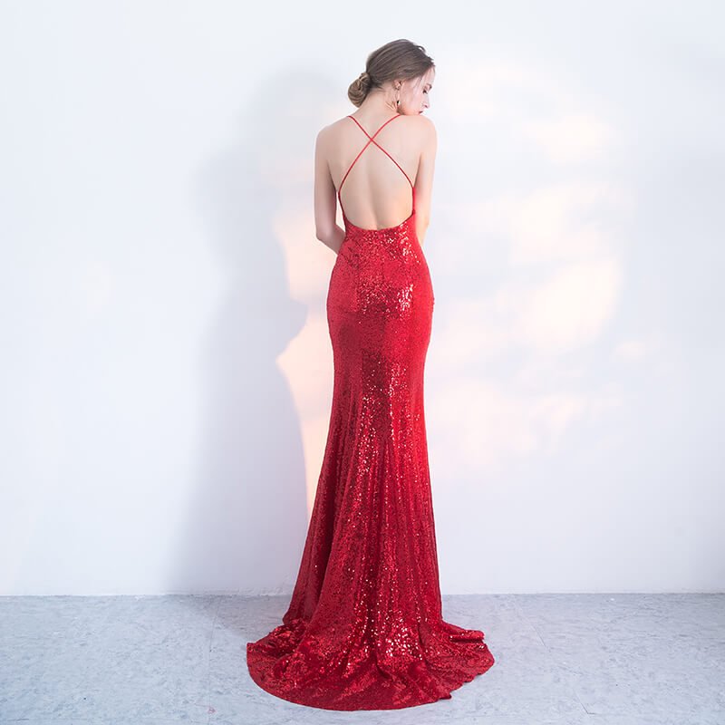 NzBridal Red Spaghetti Straps Sparkling Evening Night Dress
