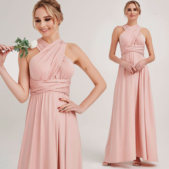 Blush Endless Ways Convertible Beach Wedding Bridesmaid Dress