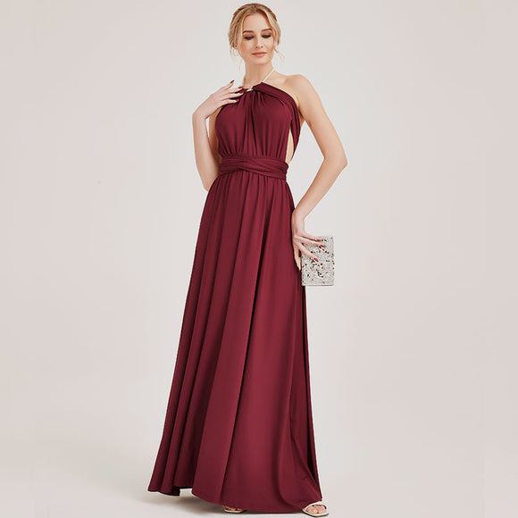 Wine Red Multiway Wrap Bandage Endless Way Convertible Bridesmaid Dress