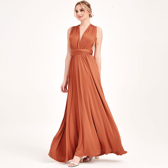 Burnt Orange Infinity Wrap Dresses NZ Bridal Convertible Bridesmaid Dress One Dress Endless possibilities
