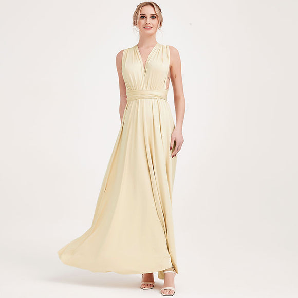 Light Champagne Infinity Wrap Bridesmaid Dresses Endless Way Convertible Maxi Dress