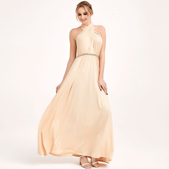 Champagne Nude Infinity Wrap Bridesmaid Dresses Endless Way Convertible Maxi Dress