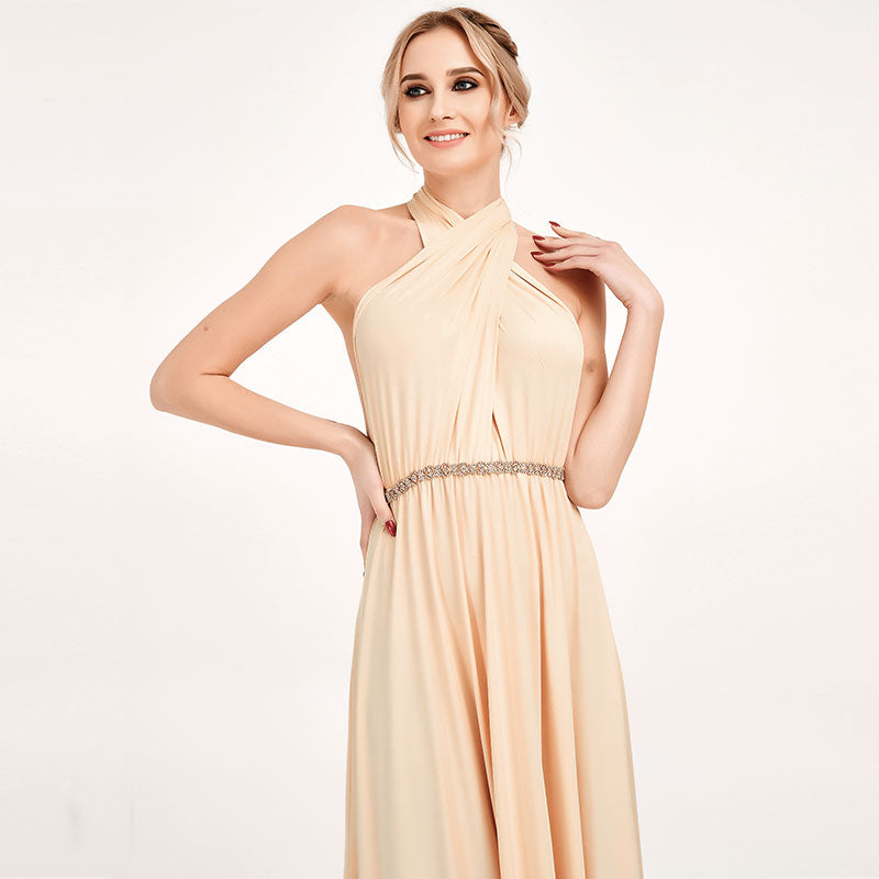 Champagne Infinity Wrap Bridesmaid Dresses Versatile Convertible Maxi Dress