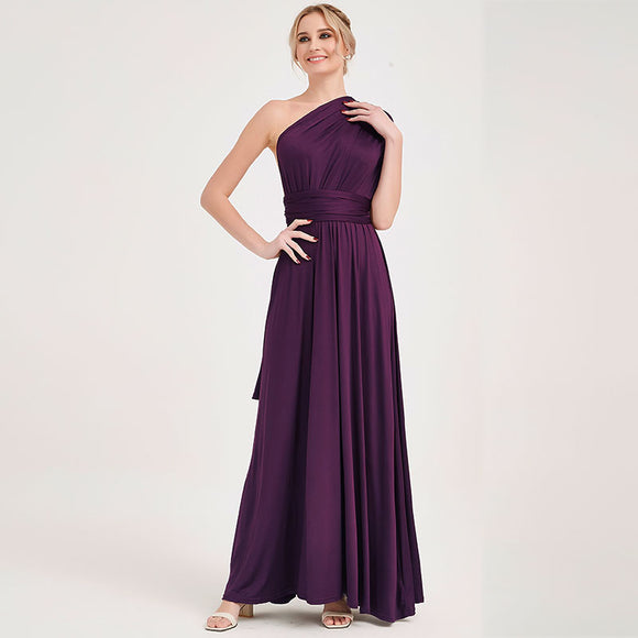Dark Purple Infinity Wrap Bridesmaid Dresses Endless Way Convertible Maxi Dress