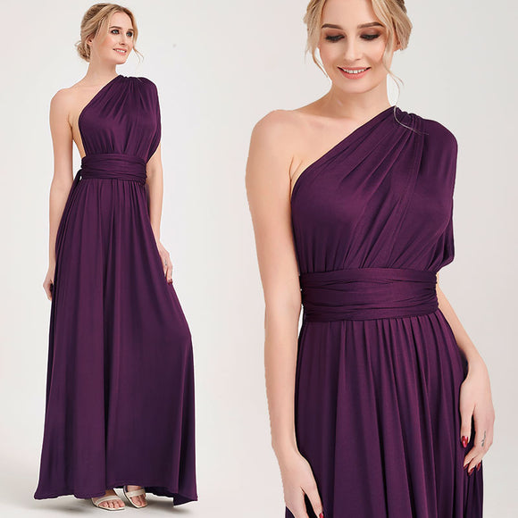 Dark Purple Wrap-around Bridesmaid Dresses Endless Way Convertible Maxi Dress