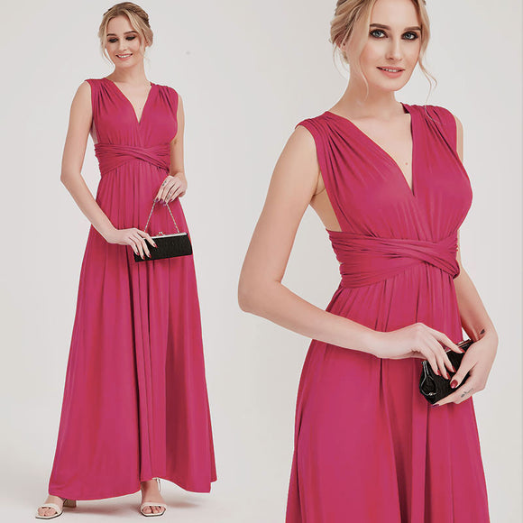 Hot Pink Multiway Wrap Bridesmaid Dresses Convertible Maxi Dress
