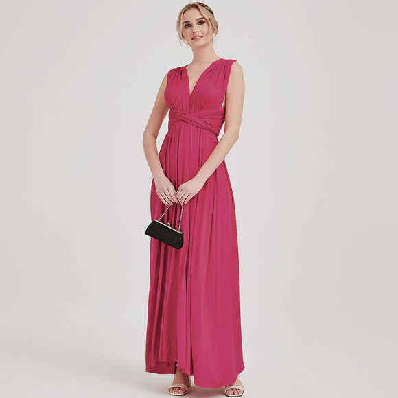 Hot Pink Infinity Wrap Bridesmaid Dresses Endless Way Convertible Maxi Dress