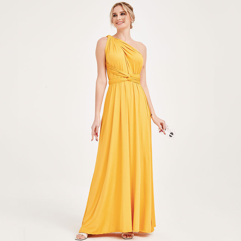 Mustard Yellow Gown Infinity Wrap Dresses NZ Bridal Convertible Bridesmaid Dress One Dress Endless possibilities