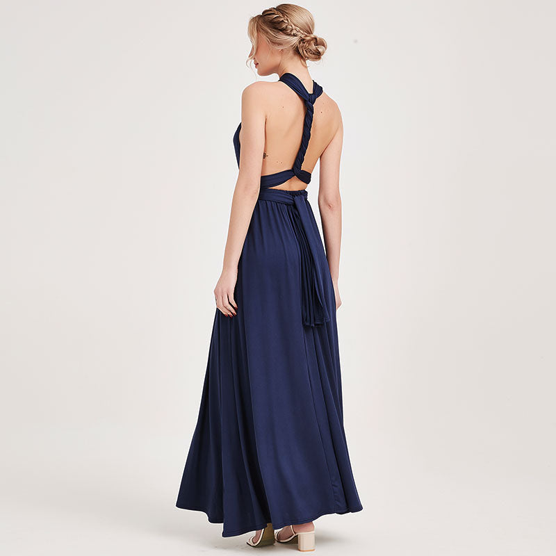 Navy Blue Infinity Wrap Bridesmaid Dresses Endless Way Convertible Maxi Dress