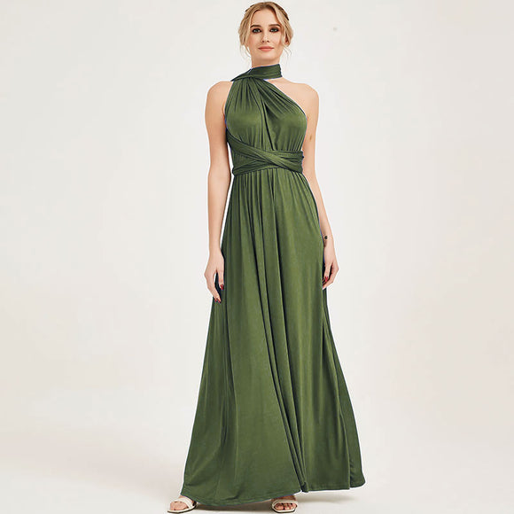 Olive Green Endless Ways Convertible Beach Wedding Bridesmaid Dresses