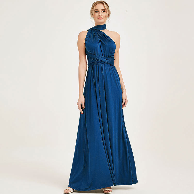 Prussian Blue Infinity Wrap Bridesmaid Dresses Endless Way Convertible Maxi Dress