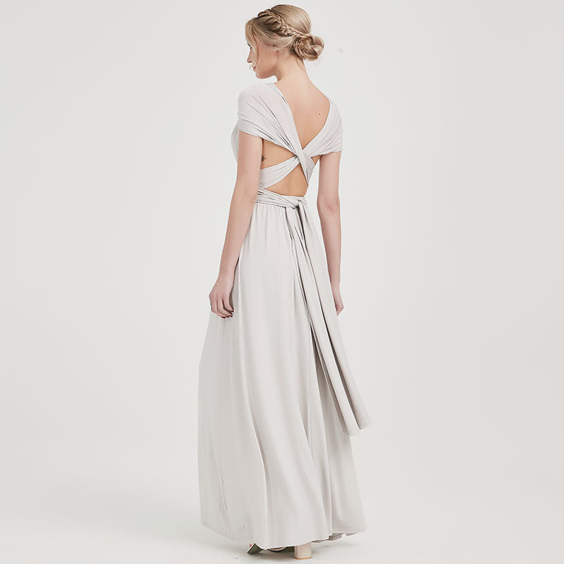 Silver Gray Infinity Wrap Dresses NZ Bridal Convertible Bridesmaid Dress One Dress Endless possibilities