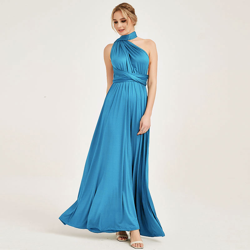 Water Blue Infinity Wrap Bridesmaid Dresses Endless Way Convertible Maxi Dress