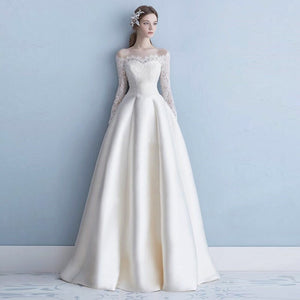 Noble High Quality Satin Pleated Bridal Wedding Dress