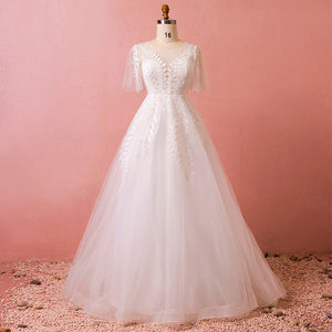 [Plus Size] Leaves Embroidery Lace Organza Wedding Dresses