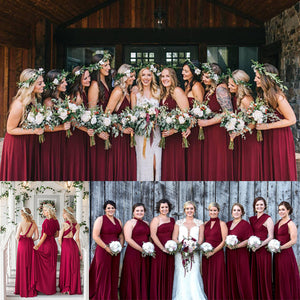 Burgundy Infinity Wrap Bridesmaid Dresses Endless Way Convertible Maxi Dress