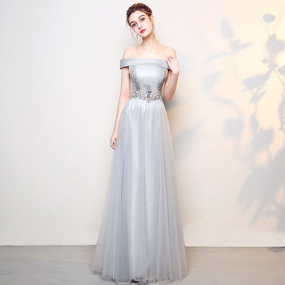 Off the Shoulder Lapel Slash Neck Formal Evening Dress with Pearls