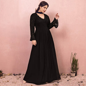Plus Size Black Lace Evening Dress NZ Bridal