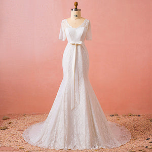 [Plus Size] Vintage Bow Tie Lace Mermaid Wedding Gown for Brides