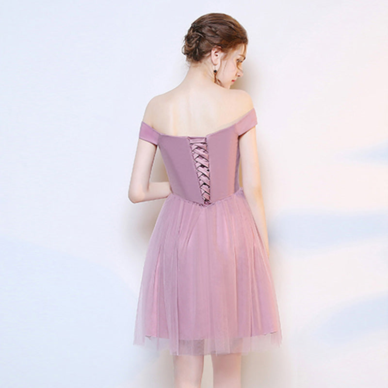 Dusty Rose Off the Shoulder Diamond Chain Tulle Short Bridesmaid Dresses