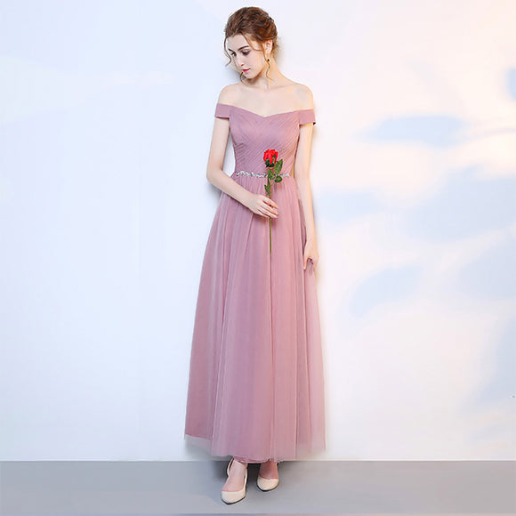 Dusty Rose Off the Shoulder Diamond Chain Tulle Bridesmaid Dresses