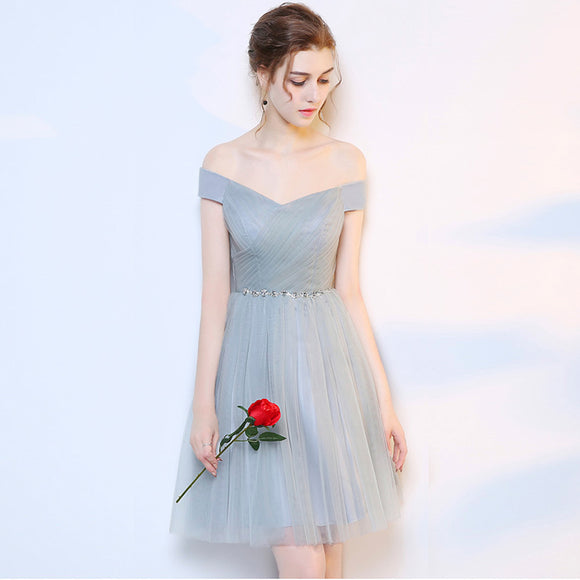 Grey Off the Shoulder Diamond Chain Tulle Short Bridesmaid Dresses