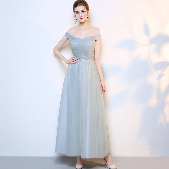 Grey Off the Shoulder Diamond Chain Tulle Long Bridesmaid Dresses
