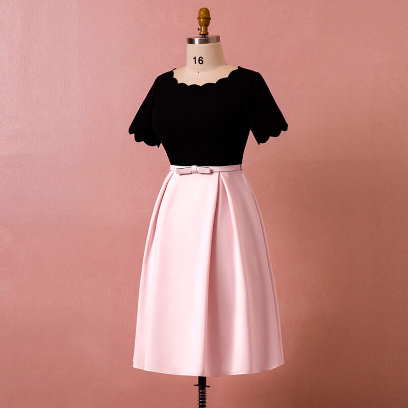 Plus Size MIDI Length Pink & Black Party Dress NZ Bridal