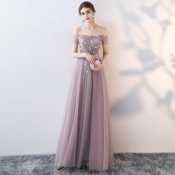 Dusty Pink Off the Shoulder Sheer Formal Evening Dress