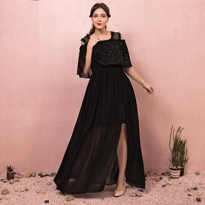Plus Size Two Pieces Black Maxi Evening Dress NZ Bridal
