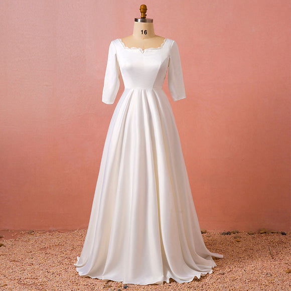 [Plus Size] Noble Satin Royal Simple Square Neck Wedding Gown