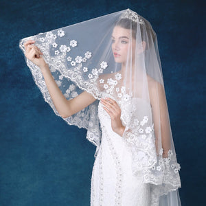 Tulle Wedding Bridal Veil with Flowers