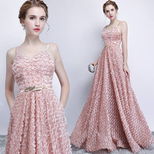 Rosy Pink V Cut Spaghetti Straps Fashion Pocket Long Evening Gown