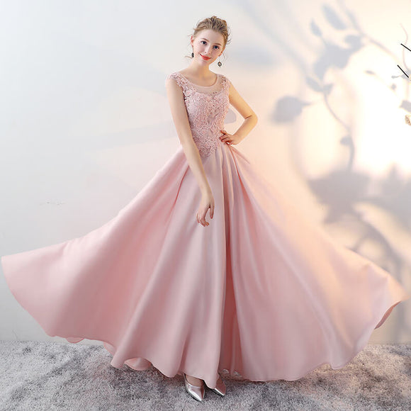 Elegant Pink Lace Satin Pleated A-Line Formal Evening Dress