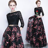 White Flower  Lace Bodice Pleated Skirt 3/4 Sleeves Pocket Black Party Gown