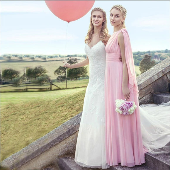 Light Pink Multi Ways Convertible Sweetheart Chiffon Bridesmaid Dresses