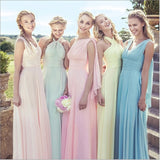 Light Pink Multi Ways Wrap Convertible Bridesmaid Dress Strapless Chiffon A-line Gown For Bridesmaid Party-CHRIS