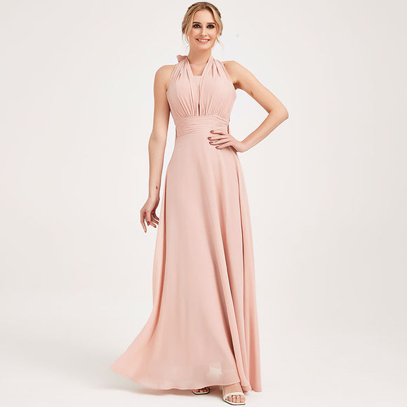 Dusty Pink CONVERTIBLE Chiffon Bridesmaid Dress-CHRIS