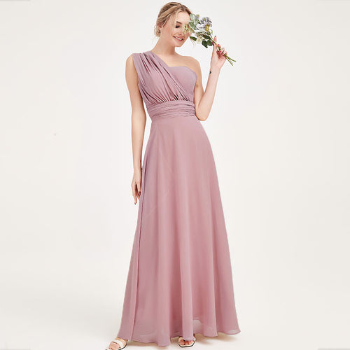Vintage Mauve Multi Ways Wrap Convertible Bridesmaid Dress Strapless Chiffon A-line Gown For Bridesmaid Party-CHRIS