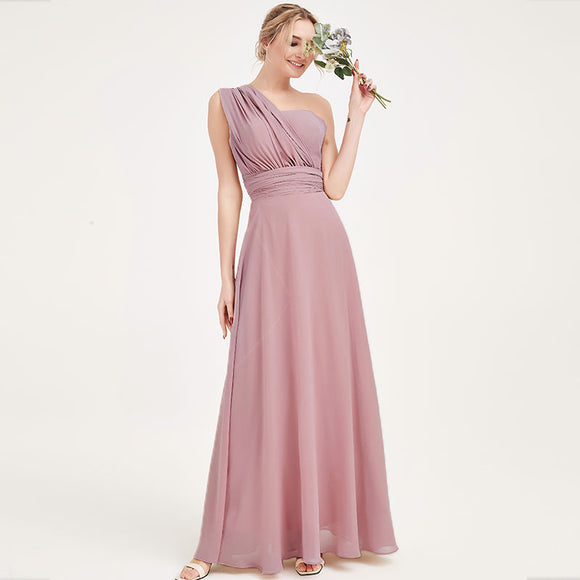 Vintage Mauve CONVERTIBLE Chiffon Bridesmaid Dress-CHRIS